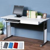 《Homelike》巧思辦公桌 炫灰系列-白色仿馬鞍皮140cm(附鍵盤架+抽屜)(純白色)