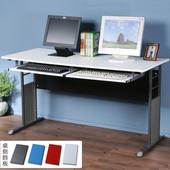《Homelike》巧思辦公桌 炫灰系列-白色仿馬鞍皮140cm(附鍵盤架*2)(深灰色)