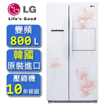 LG 花之賞系列直驅變頻對開冰箱花漾白/800公升(GR-HL78M)