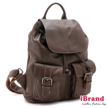 i Brand 真皮包包 俐落時尚-牛皮翻蓋口袋後背包-優雅棕