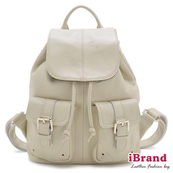 i Brand 真皮包包 俐落時尚-牛皮翻蓋口袋後背包-亮米白