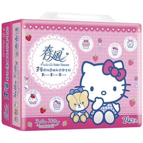 春風 美式Kitty三層抽取式衛生紙(100抽*24包/串)