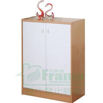伊里斯 伊里斯高尚木紋色雙門鞋櫃(白橡木配白)