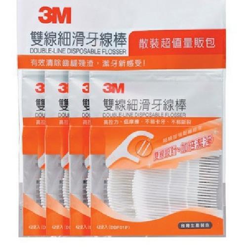 《3M》雙線細滑牙線棒-散裝超值量販包(32支/袋x4袋)