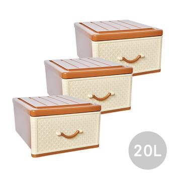 ★結帳現折★SONA PLUS 小仿藤古典單層收納整理箱(單層20公升) 3入