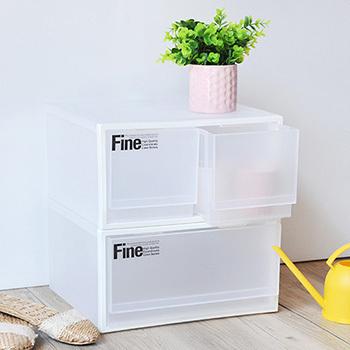 SONA PLUS 透白單層抽屜整理箱 2入(單抽+雙抽)