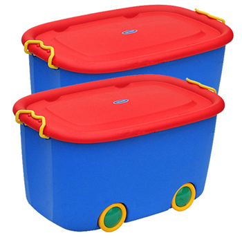 《SONA PLUS》大寶玩具滑輪整理箱(45公升) 2入(藍箱紅蓋)