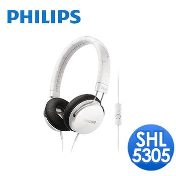 PHILIPS 飛利浦 飛利浦 SHL5305頭戴式耳機麥克風(白)