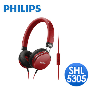 PHILIPS 飛利浦 飛利浦 SHL5305頭戴式耳機麥克風(紅)