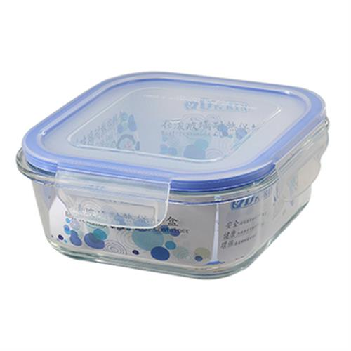 Dr.RIN 花漾玻璃耐熱保鮮盒方型(800ML / LS-800NB)