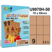 《彩之舞》9格 進口3合1牛皮標籤U9970H-50*3包