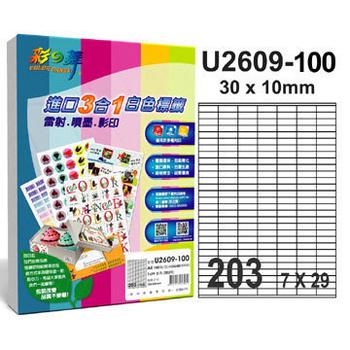 彩之舞 203格 進口3合1白色標籤U2609-100*2包