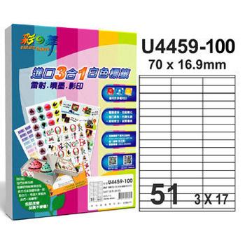 《彩之舞》51格  進口3合1白色標籤U4459-100*2包