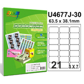 《彩之舞》21格 進口噴墨專用標籤U4677J-30*3包