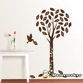 《FIXPIX》精靈樹與鳥(絨布)-創意造型壁貼(HVS-58608)(50cmX70cm)