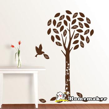 ★結帳現折★FIXPIX 精靈樹與鳥(絨布)-創意造型壁貼(HVS-58608)(50cmX70cm)