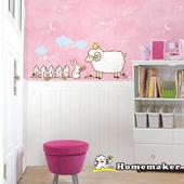 《Decoin》綿羊與兔子和可愛小雞-創意造型壁貼(HS-SWST09-1)(32cmX60cm)