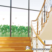 《FIXPIX》蜻蜓與蘆葦草-創意造型壁貼(HPS-58158)(50cmX70cm)