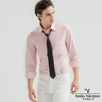 Emilio Valentino 范倫提諾 都會經典長袖襯衫-粉紅(M)