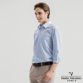 《Emilio Valentino 范倫提諾》都會經典長袖襯衫-藍(S)