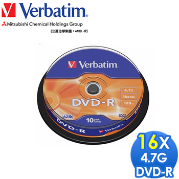 Verbatim 威寶 DVD-R 4.7GB 16X 光碟片 布丁桶裝 (30片)