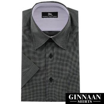 GINNAAN 奢華優質選短袖襯衫(精緻灰格)(16)