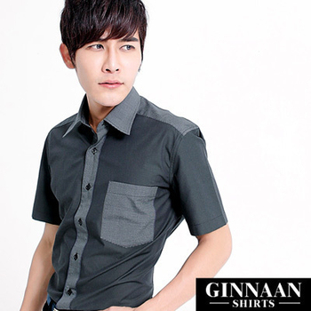 GINNAAN 奢華優質選短袖襯衫(撞色灰)(16)