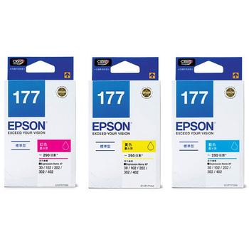 EPSON EPSON 原廠墨水匣T177(三色組合包)送4*6相紙一包(EPSON 原廠墨水匣T177(三色組合包))