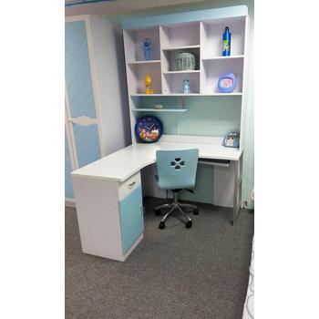 《首雅傢俬》藍精靈書桌+轉椅組(水藍/白色)