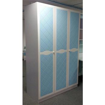 《首雅傢俬》藍精靈三門衣櫃(水藍/白色)