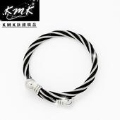 《KMK鈦鍺精品》純白鋼+鋼索繩紋(手環)