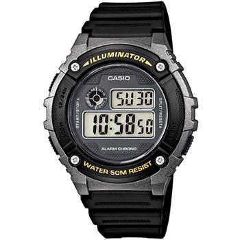 CASIO 競速電小子休閒數字錶 W-216H-1B(黃字黑框)