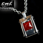 《KMK鈦鍺精品》緋紅大地墜鍊