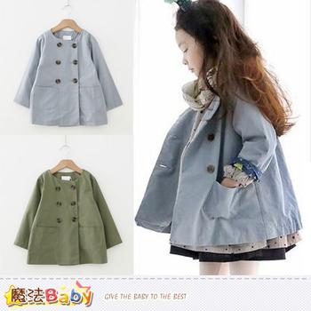 魔法Baby 女童外套 雙排扣風衣外套(灰藍.綠) ~k36954(灰藍/100)