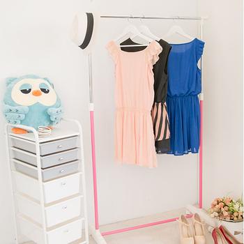 ikloo 彩漾單桿升降曬衣架/曬衣桿 買一送一(櫻花粉X1+天空藍X1)