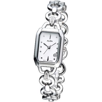ALBA 典雅元素晶鑽手鍊腕錶-白 AH7775X1