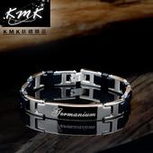 《KMK鈦鍺精品》黑色物語(純鈦矽膠+磁鍺健康手鍊)