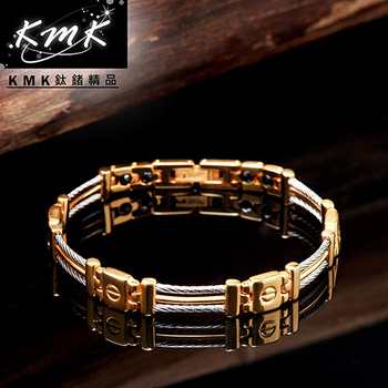 KMK鈦鍺精品 金色國度(純白鋼+鋼索繩紋+磁鍺健康手鍊)(細款)