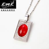 《KMK鈦鍺精品》玫瑰莊園(紅瑪瑙+純鈦+磁鍺健康墜鍊)