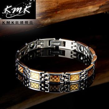 KMK鈦鍺精品 黃金年華(純白鋼+金箔+磁鍺健康手鍊)(細款)
