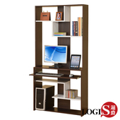 《LOGIS》質感宅多功能層架式電腦桌櫃/展示櫃(胡桃色)