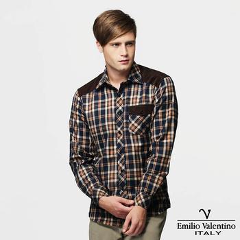 Emilio Valentino 范倫提諾 絨布拼接格紋襯衫-藍(40/16)