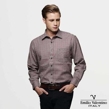 《Emilio Valentino 范倫提諾》經典格紋襯衫-紅黑(40/16