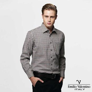 Emilio Valentino 范倫提諾 經典格紋襯衫--咖啡(40/16)