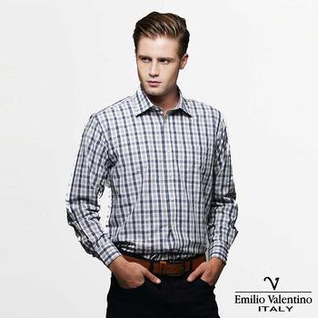 Emilio Valentino 范倫提諾 純棉格紋襯衫-藍(40/16)