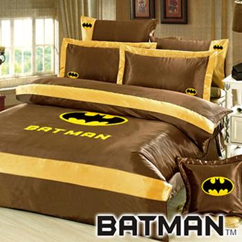 BATMAN 絲緞加大八件式兩用被床罩組(金色)