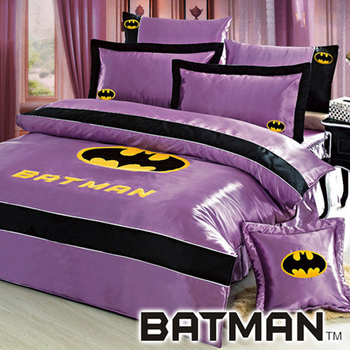 ★結帳現折★BATMAN 絲緞雙人八件式兩用被床罩組(紫色)
