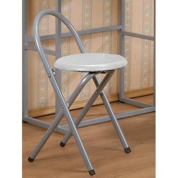 《C&B》好易收圓形便利折疊椅(2入/銀色鐵管白色坐墊)