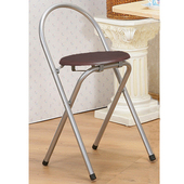 《C&B》好易收圓形便利折疊椅(2入/銀色鐵管胡桃坐墊)