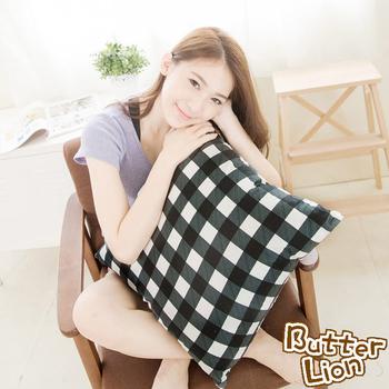 《奶油獅》格紋系列-台灣製造-100%精梳純棉可拆洗方型抱枕(含枕心)50CM(黑)